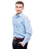 entrepreneur de 25 ans dans la chemise bleue sur le blanc Photos libres de droits