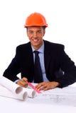 Entrepreneur de construction dans le bureau Image stock