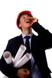 Entrepreneur de construction dans le bureau Photographie stock libre de droits