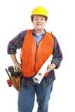 Entrepreneur de construction femelle avec des modèles Photographie stock libre de droits