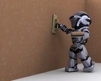 Entrepreneur de robot plâtrant un mur de pierres sèches illustration stock