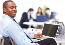 Entrepreneur displaying computer laptop Royalty Free Stock Image