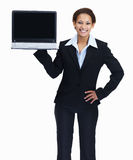Entrepreneur displaying a laptop on white Royalty Free Stock Images