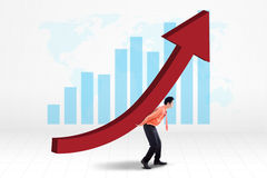 Entrepreneur with earnings growth graph Royalty Free Stock Images
