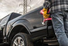 Entrepreneur et son camion photo libre de droits