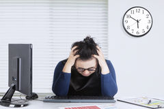 Entrepreneur feels dizzy with financial chart royalty free stock photos