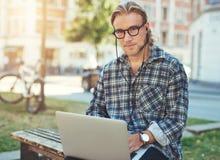 Entrepreneur with laptop Royalty Free Stock Photo