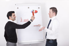 Mananger showing red card to executive. Entrepreneur ( manager ) showing executive red card as a symbol for business failures, in front of a flipchart during Stock Photography