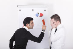Mananger showing red card to executive Royalty Free Stock Photography