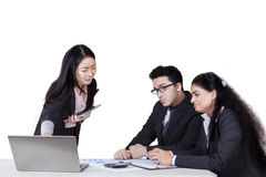 Entrepreneur meeting with her colleagues Stock Photos