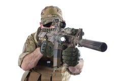Entrepreneur militaire privé avec la carabine M4 photographie stock