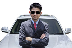 Entrepreneur and new car isolated Stock Photos