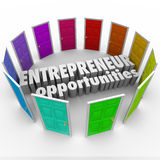 Entrepreneur Opportunities Many Business Paths. Entrepreneur Opportunities words in the middle of many colored doors to illustrate the wide array of business royalty free illustration