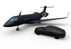 Entrepreneur private jet and car concept. 3D render illustration of a private jet and car. These are the two elements that are associated with successful Stock Photography