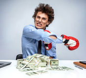 Entrepreneur is satisfied with his profit Royalty Free Stock Image