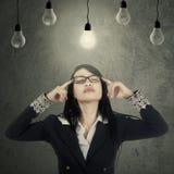 Entrepreneur seek idea under bulbs Stock Image