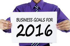 Entrepreneur showing business goals for 2016 Stock Photography