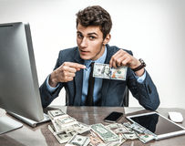 Entrepreneur showing his motivation earnings, profit, income, gain, benefit, margin Royalty Free Stock Images