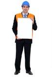Entrepreneur showing white sign Royalty Free Stock Photo