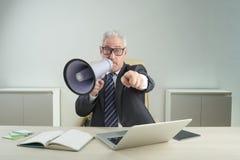 Entrepreneur supérieur Using Megaphone Image stock