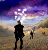 Entrepreneur. Surreal painting. Man in suit stands in field. Light bulbs around his head represents ideas. Horse grazes. Human elements were created with 3D Stock Images