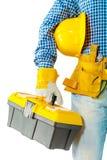 Entrepreneur tenant la boîte à outils photographie stock