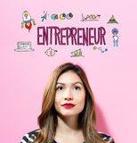 Entrepreneur text with young woman. On a pink background Royalty Free Stock Photos