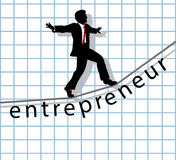 Entrepreneur on tightrope start up success. Entrepreneur business man walks on financial tightrope to make start up success Royalty Free Stock Photography