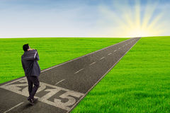 Entrepreneur walking ahead to future 2015. Back view of businessman carrying briefcase and walk forward on the road with number 2015 Stock Photo