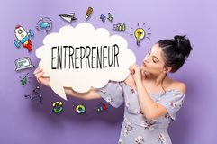 Entrepreneur with woman holding a speech bubble. Entrepreneur with young woman holding a speech bubble Royalty Free Stock Photos