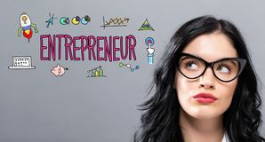 Entrepreneur with young businesswoman. In a thoughtful face Stock Images