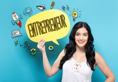 Entrepreneur with woman holding a speech bubble. Entrepreneur with young woman holding a speech bubble royalty free stock photo