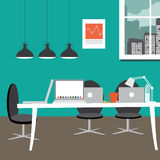 Entrepreneurial workspace in flat design style Stock Photo