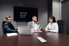 Entrepreneurs and business people conference in modern meeting room stock photos