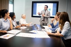 Entrepreneurs and business people conference in meeting room. Entrepreneurs and business people conference in modern meeting room royalty free stock image