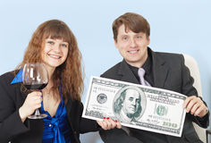 Entrepreneurs celebrating large profit Royalty Free Stock Photo
