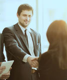 Entrepreneurs Conference. Concluding a very important deal securing a handshake Royalty Free Stock Photos