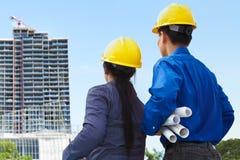 Entrepreneurs et projets de construction Images libres de droits