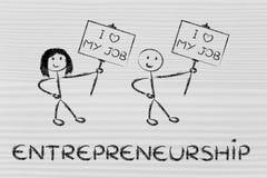 Entrepreneurs Holding Panels That Says I Love My Job Stock Images
