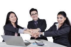 Entrepreneurs team showing unity with their hands Stock Images