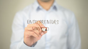 Entrepreneurs Wanted , man writing on transparent screen Royalty Free Stock Photography