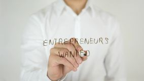 Entrepreneurs Wanted, Written on Glass Royalty Free Stock Photo
