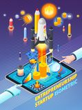 Entrepreneurship Activity Isometric Composition. On gradient purple background with rocket start, business elements, mobile device, vector illustration Stock Photos