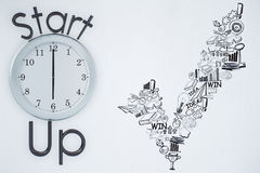 Entrepreneurship concept. Clock with business sketch on white wall background. Entrepreneurship concept. 3D Rendering Royalty Free Stock Images