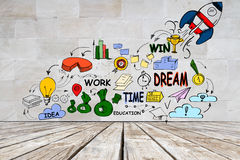 Entrepreneurship concept. Interior with wooden floor and colorful business sketch on concrete wall. Entrepreneurship concept Royalty Free Stock Photos