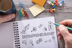 Entrepreneurship concept on a notepad. Entrepreneurship concept drawn on a notepad placed on a desk stock images