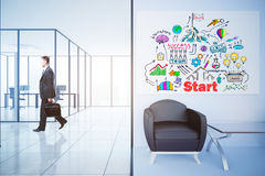 Entrepreneurship concept. Side view of walking businessman in contemporary interior with business sketch, workspace and waiting area. Entrepreneurship concept Stock Photo