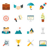 Entrepreneurship Flat Color Icons. Set with business startup work in team leadership handshake elements isolated vector illustration Stock Image