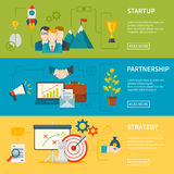 Entrepreneurship Horizontal Banners. Entrepreneurship flat horizontal banners set of startup strategy and partnership vector illustration Royalty Free Stock Images