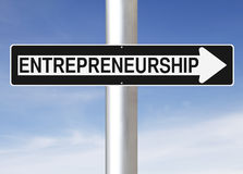 Entrepreneurship. Modified one way sign indicating Entrepreneurship Royalty Free Stock Photography